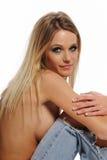 Young Blond Woman portrait wearding jeans Stock Photos