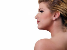 Young blond woman profile portrait classic beauty Stock Photography