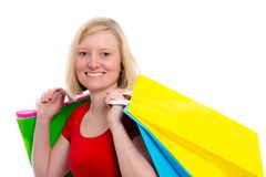 Young blond woman with shopping bags Stock Image