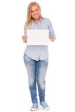 Young blond woman showing paper Stock Images