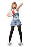 Young blond woman with teddy bear toy Royalty Free Stock Photography