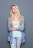 Young blond woman thinking Stock Image