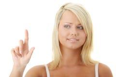 Young blond woman touching screen Stock Photo