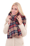 Young blond woman in warm clothes isolated on white Royalty Free Stock Photos