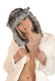 A young blond woman in warm winter clothes Royalty Free Stock Photo