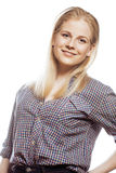 Young blond woman on white backgroung gesture smiling, isolated. Close up Stock Photos