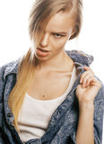 Young blond woman on white backgroung gesture thumbs up,  emotional posing close up Royalty Free Stock Image
