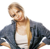 Young blond woman on white backgroung gesture thumbs up,  emotional posing close up Royalty Free Stock Photography