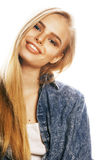 Young blond woman on white backgroung gesture thumbs up, isolate. Young blond real woman on white backgroung gesture thumbs up, isolated emotional posing close Royalty Free Stock Photography