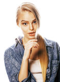 Young blond woman on white backgroung gesture thumbs up, isolate. Young blond real woman on white backgroung gesture thumbs up, isolated emotional posing close Stock Photos