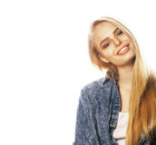Young blond woman on white backgroung gesture thumbs up, isolate Royalty Free Stock Photography