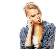 Young blond woman on white backgroung gesture thumbs up, isolate Stock Photos
