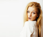 Young blond woman on white backgroung gesture thumbs up, isolate. Young blond woman on white backgroung smiling gesture thumbs up, isolated emotional posing Stock Photos