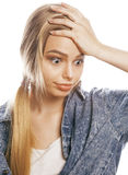 Young blond woman on white backgroung gesture Royalty Free Stock Photos