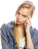 Young blond woman on white backgroung gesture Royalty Free Stock Image
