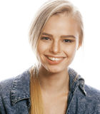 Young blond woman on white backgroung gesture. Thumbs up, isolated emotional closeup Stock Images