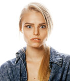 Young blond woman on white backgroung gesture. Thumbs up, isolated emotional posing close up Stock Photography