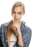 Young blond woman on white backgroung gesture. Thumbs up, isolated emotional posing close up Royalty Free Stock Photo