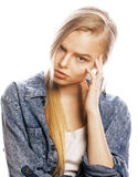 Young blond woman on white backgroung gesture. Thumbs up, isolated emotional posing close up Royalty Free Stock Image
