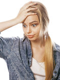 Young blond woman on white backgroung gesture thumbs up, isolated emotional posing close up Royalty Free Stock Photo