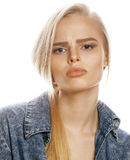 Young blond woman on white backgroung gesture thumbs up, isolated emotional posing close up Royalty Free Stock Photography