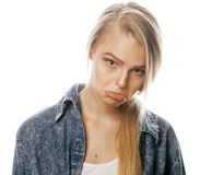 Young blond woman on white backgroung gesture. Thumbs up, isolated hipster emotional Royalty Free Stock Images