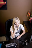 Young Blond Woman Working Behind Desk Stock Photos
