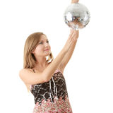 Young blond women with disco ball Royalty Free Stock Photos
