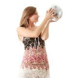 Young blond women with disco ball Royalty Free Stock Photo
