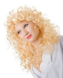 Young blonde. An effective Young blonde in a white Stock Image