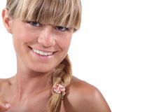Young blonde with bangs Royalty Free Stock Images