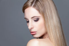 Young blonde beauty with straight hair Stock Photo