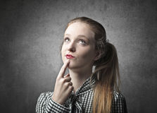 Young Blonde Beauty Thoughtful Royalty Free Stock Images