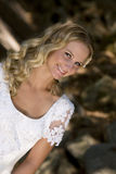 Young blonde bride. A young, blonde bride in her wedding dress stock images