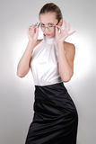 Young blonde businesswoman in glasses Royalty Free Stock Photography