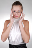 Young blonde businesswoman in glasses Stock Image