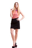 Young blonde CEO full body over white background Royalty Free Stock Photography