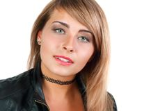 Young blonde with choker isolated Royalty Free Stock Photography