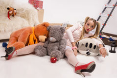 Young blonde dressed up as a doll Royalty Free Stock Photo
