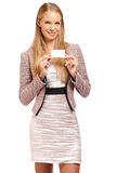 Young blonde employe holding a blank businesscard Stock Photo