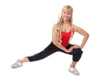 Young blonde is engaged in fitness Royalty Free Stock Images