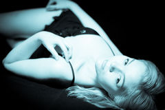 Young Blonde Female Boudoir Stock Photography