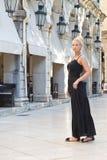 Young blonde female model posing in greece - island corfu. Stock Image