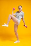 Young blonde fitness woman Stock Photo