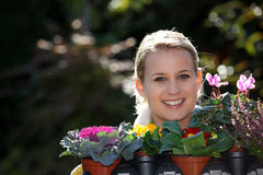 Young blonde gardener Stock Image