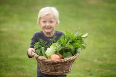 Young  blonde gardener proudly shows off his harvest stock photography