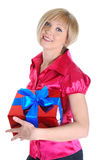 Young blonde with a gift. Royalty Free Stock Photo