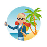 Young blonde girl with backpack smartphone sunglasses palm sand beach Royalty Free Stock Photos
