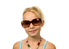 Young blonde girl with big sunglasses Royalty Free Stock Photos