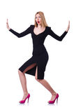 Young blonde girl in black dress pushing isolated Stock Image